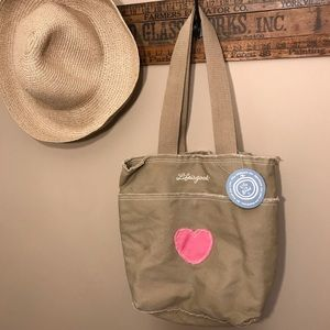 Life Is Good Canvas Tote with Pink Heart